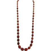 VINTAGE Joan Rivers 30 Inch Graduated Amber Beaded Necklace