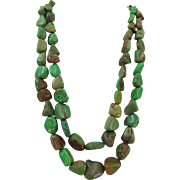 VINTAGE Green Turquoise Chunky Two Strand Necklace  Classic