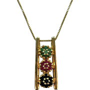 VINTAGE Sterling Chain and Pendant with Gold Covering  Pendant has Rubies and Emeralds and Sapphires Vermeil