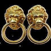 VINTAGE Famous Kenneth Jay Lane Lion Door Knocker Clip Earrings