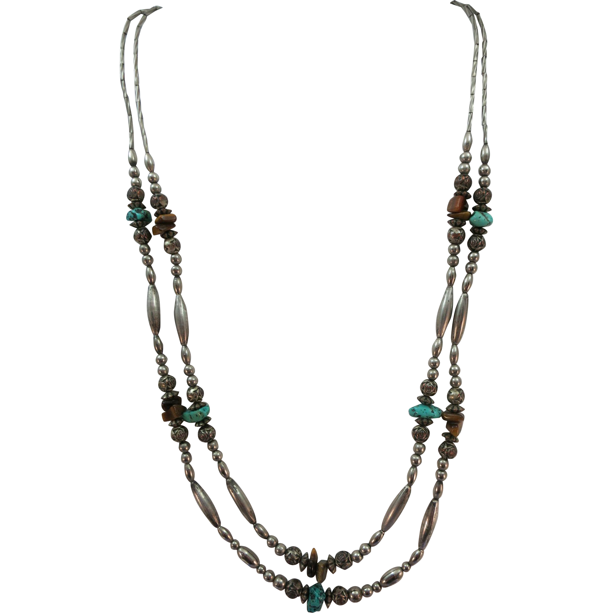 VINTAGE Two Strand Sterling Necklace with Turquoise and different beads.