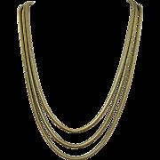 VINTAGE  Forstner Gold Filled Three Strand 50's Snake Chain
