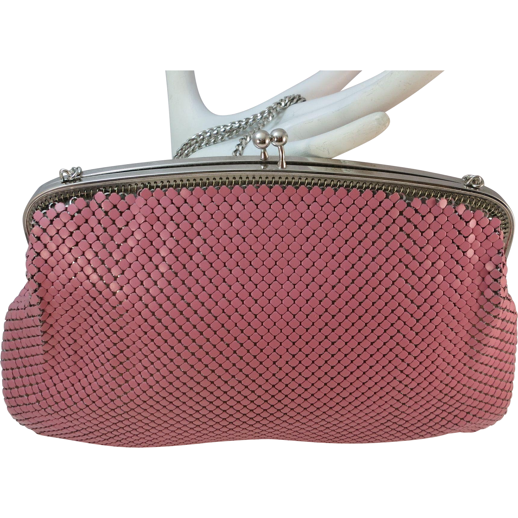 VINTAGE Whiting and Davis Pink Mesh Purse 80's