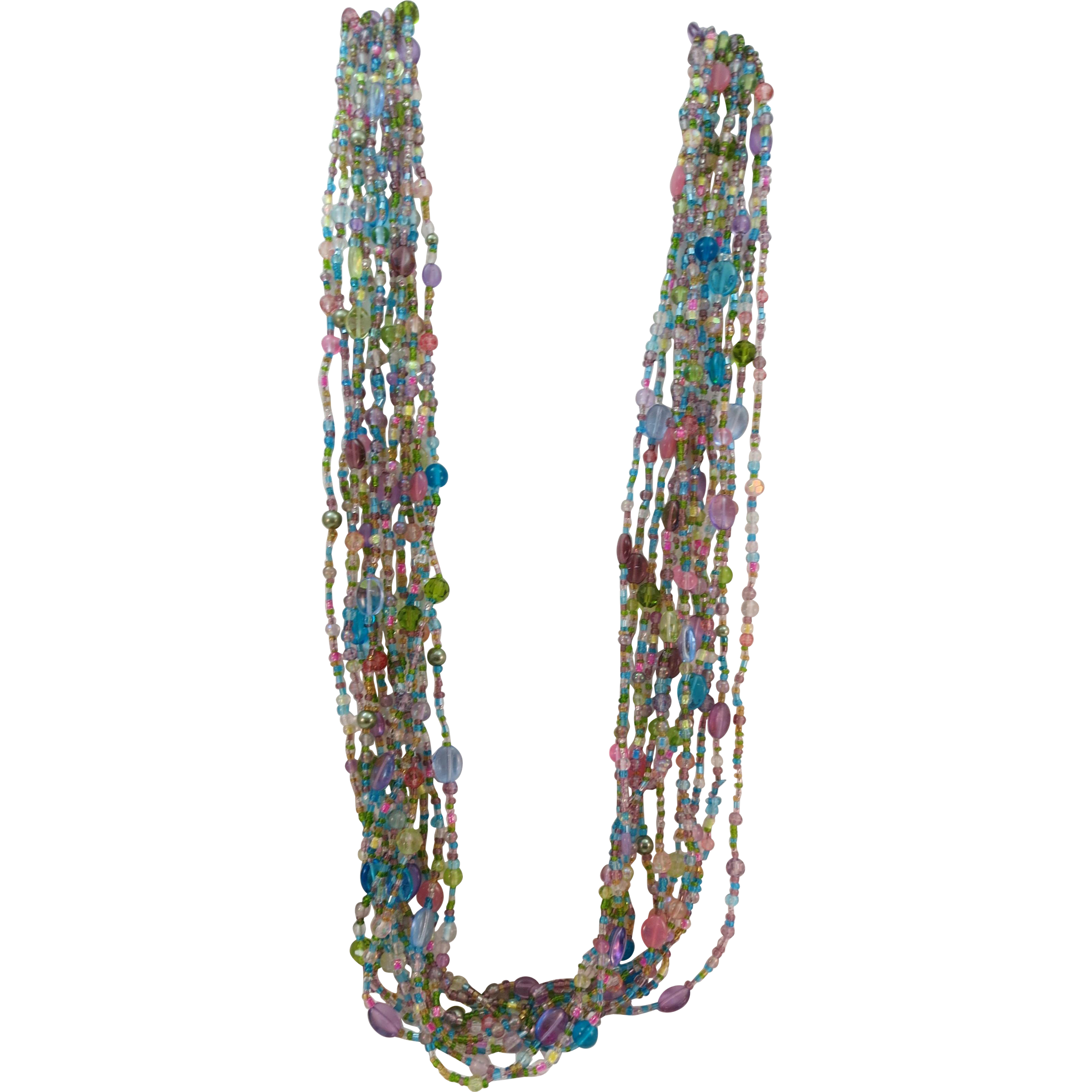 VINTAGE Joan Rivers 12 Strand 36 Inch Mass of Glass Beads Necklace  Beautiful Glass!