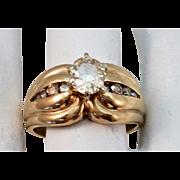 VINTAGE Yellow Gold 14K Wedding Ring  .54C Diamond  1/2 Carat + Center   and more