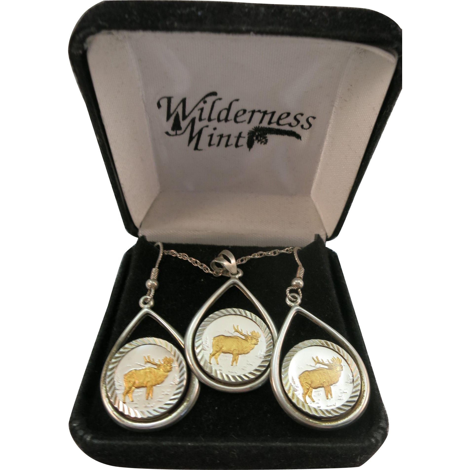 VINTAGE Famous Wilderness Mint 3 Piece Set Elk Theme Sterling with 24 Gold Accent