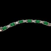 VINTAGE Natural Burma Jade Sterling Six Link Bracelet 7 Inch