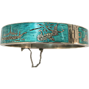 VINTAGE  Thailand Niello  Enameled Bangle Sterling Bracelet