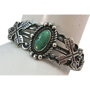 VINTAGE Fred Harvey Sterling Bracelet with Green Turquoise