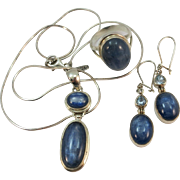 VINTAGE Three Piece Set of Blue Labradorite  Necklace, Ring and Pierced Earrings  Ring Size 8 1/4