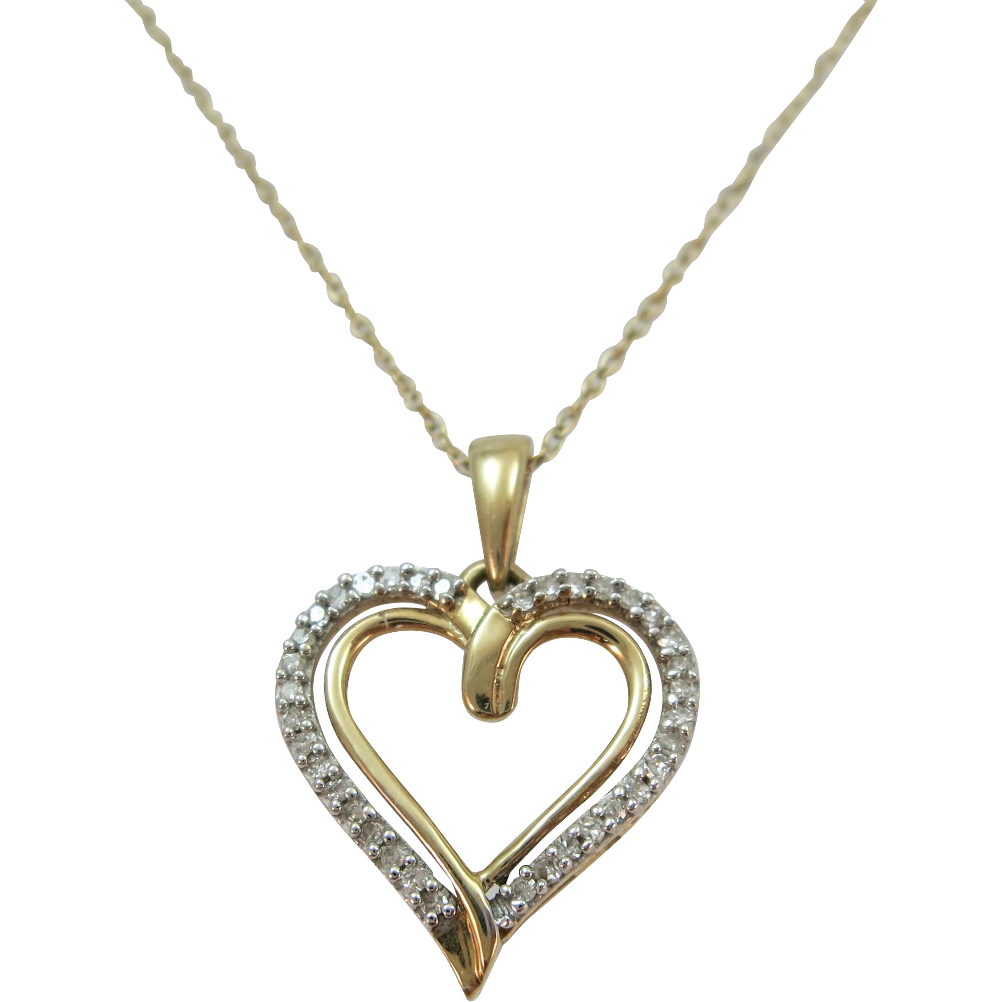 VINTAGE 10k Diamond Heart with Chain and extender 18 Inch Chain without extender