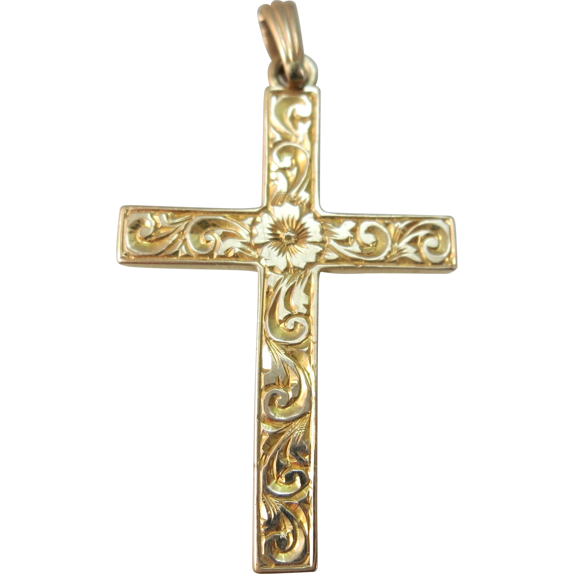 VINTAGE 10k Yellow Gold Cross 1 1/4 inch Engraved with Flowers
