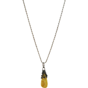 VINTAGE Baltic Amber Pendant with 30 Inch Sterling Rope Chain
