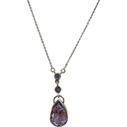 VINTAGE Lovely Sterling Amethyst Tear Drop On Sterling Chain