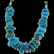 VINTAGE Classic Short Large Turquoise Nugget Necklace