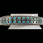 VINTAGE Different Zuni Bracelet Sterling and Turquoise