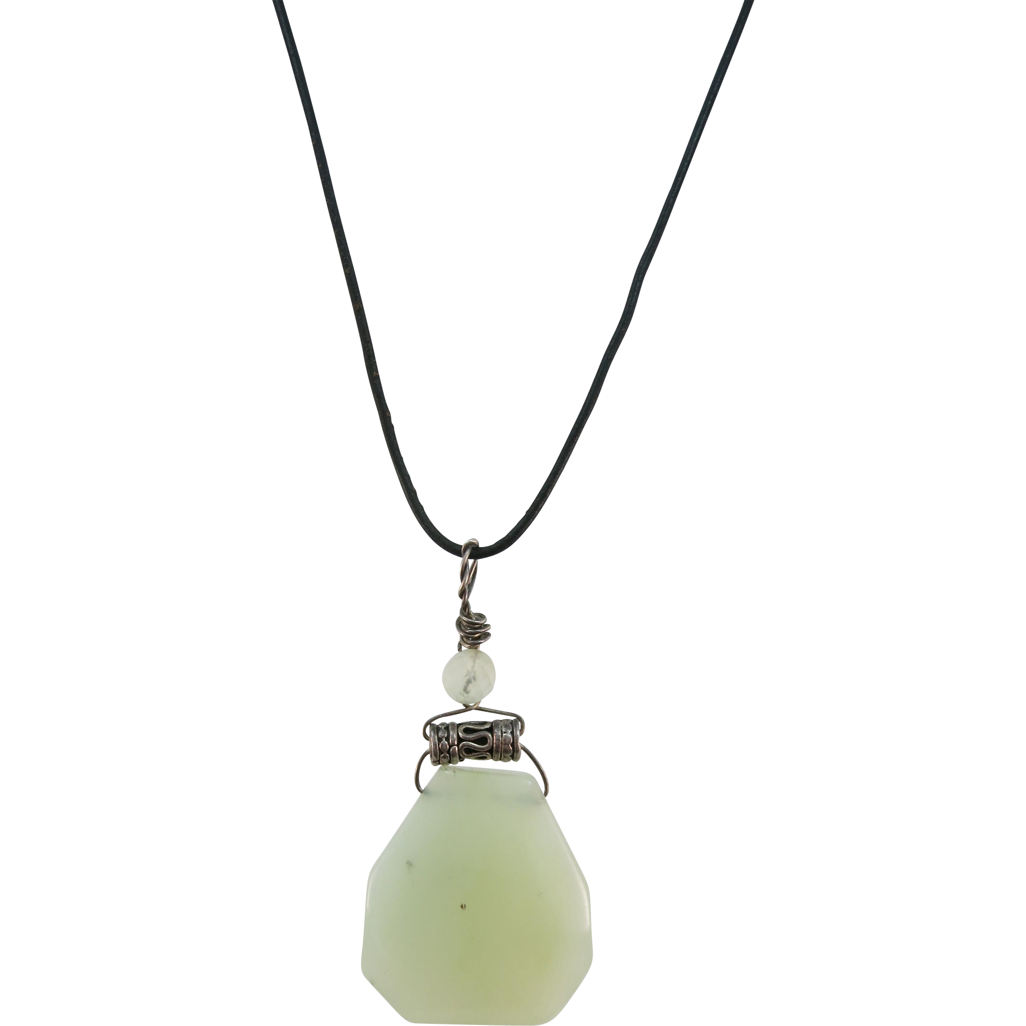 VINTAGE Jade-like Pendant on Leather String and sterling ends