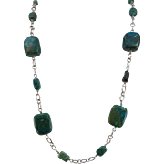 VINTAGE Sterling Strung Chunks of Turquoise Lovely Necklace