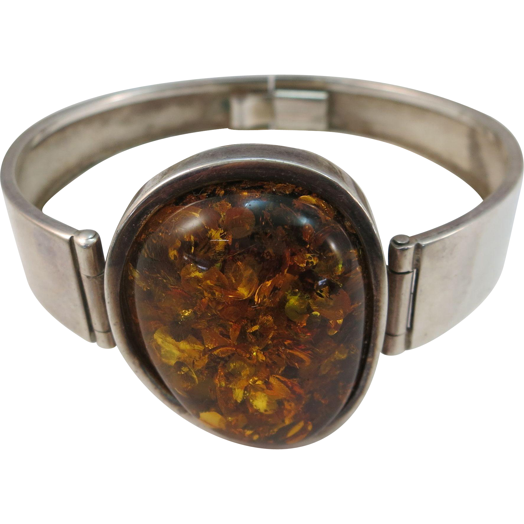 VINTAGE Amber Nugget with Sterling Bracelet