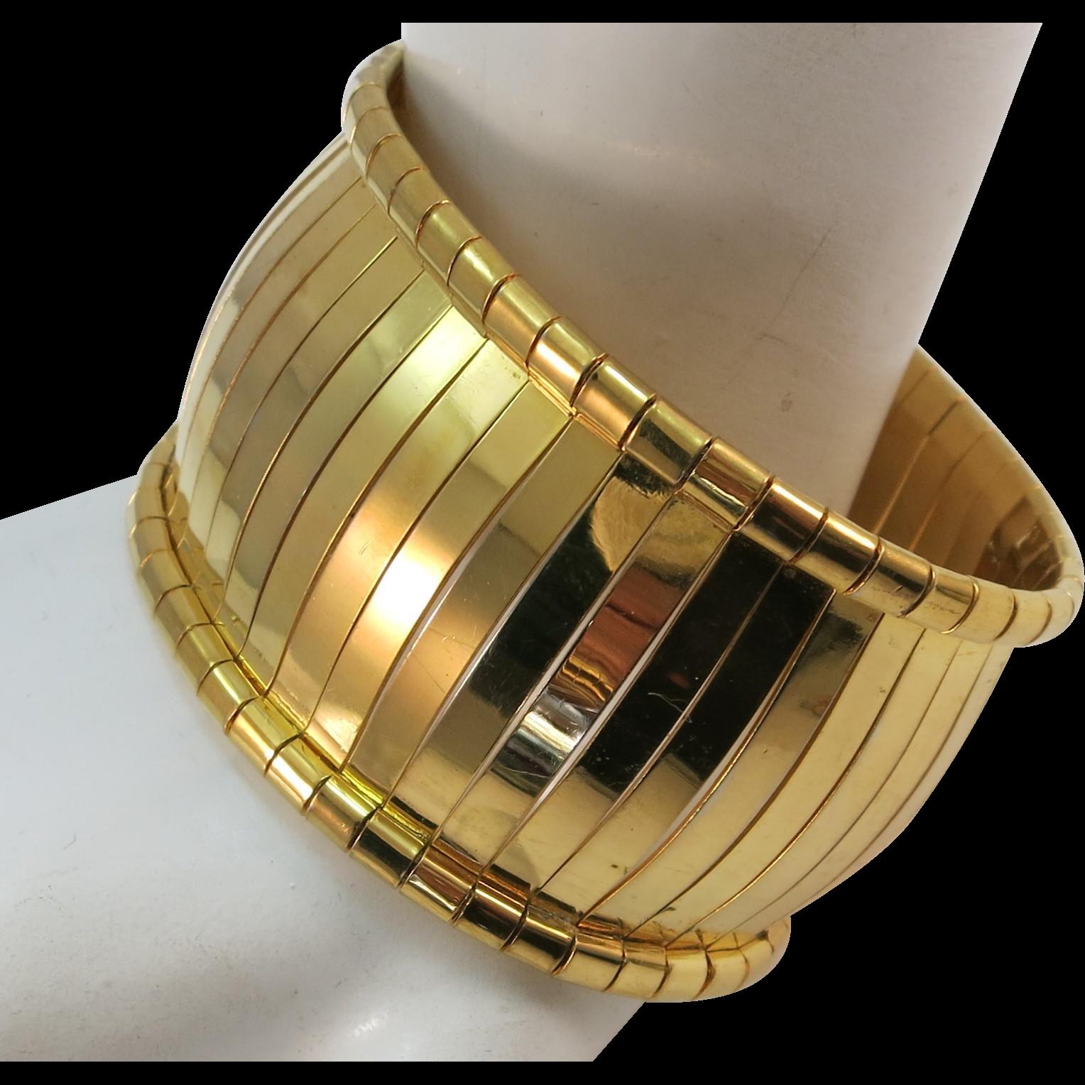 VINTAGE  Napier Segmented Bracelet Wide Bold and Fun