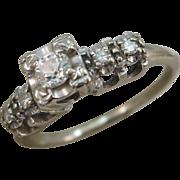 VINTAGE  50'S  Engagement White Gold Ring  Center Diamond 28 pt + 4  Diamonds