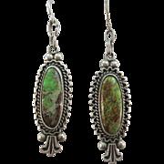 VINTAGE Old Pawn GreenTurquoise Earrings