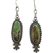VINTAGE Old Pawn GreenTurquoise Earrings