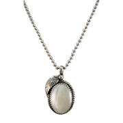 VINTAGE Mother of Pearl Pendant with Silver Leaf and lovely Chain.  18 Inches