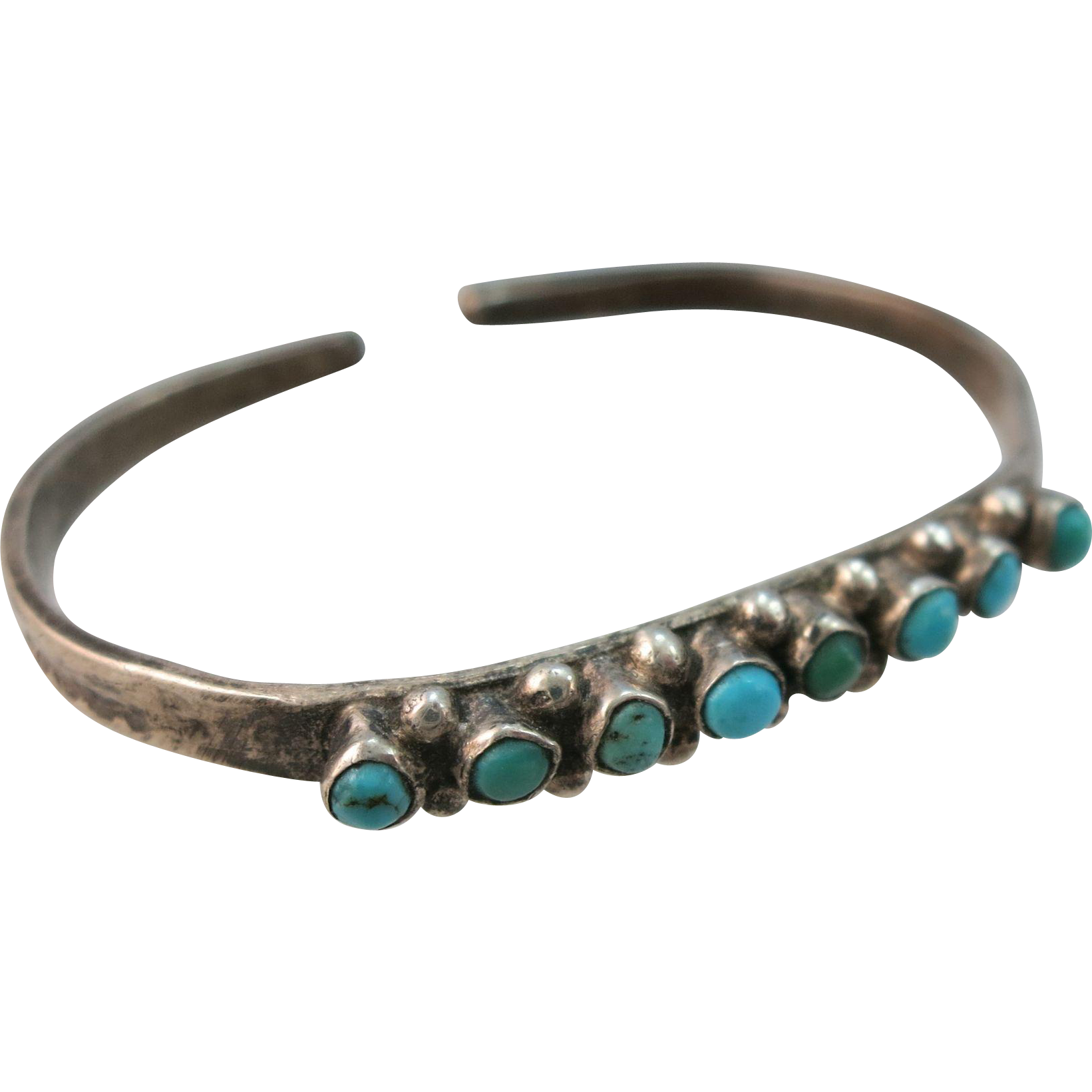 VINTAGE Tiny Small Sterling Turquoise Bracelet for Doll or Baby