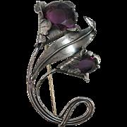 VINTAGE Large Sterling 40's Purple Flower Brooch