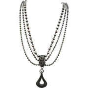 VINTAGE 40'S  Sterling lamp chain Necklace with Lovely Pendant