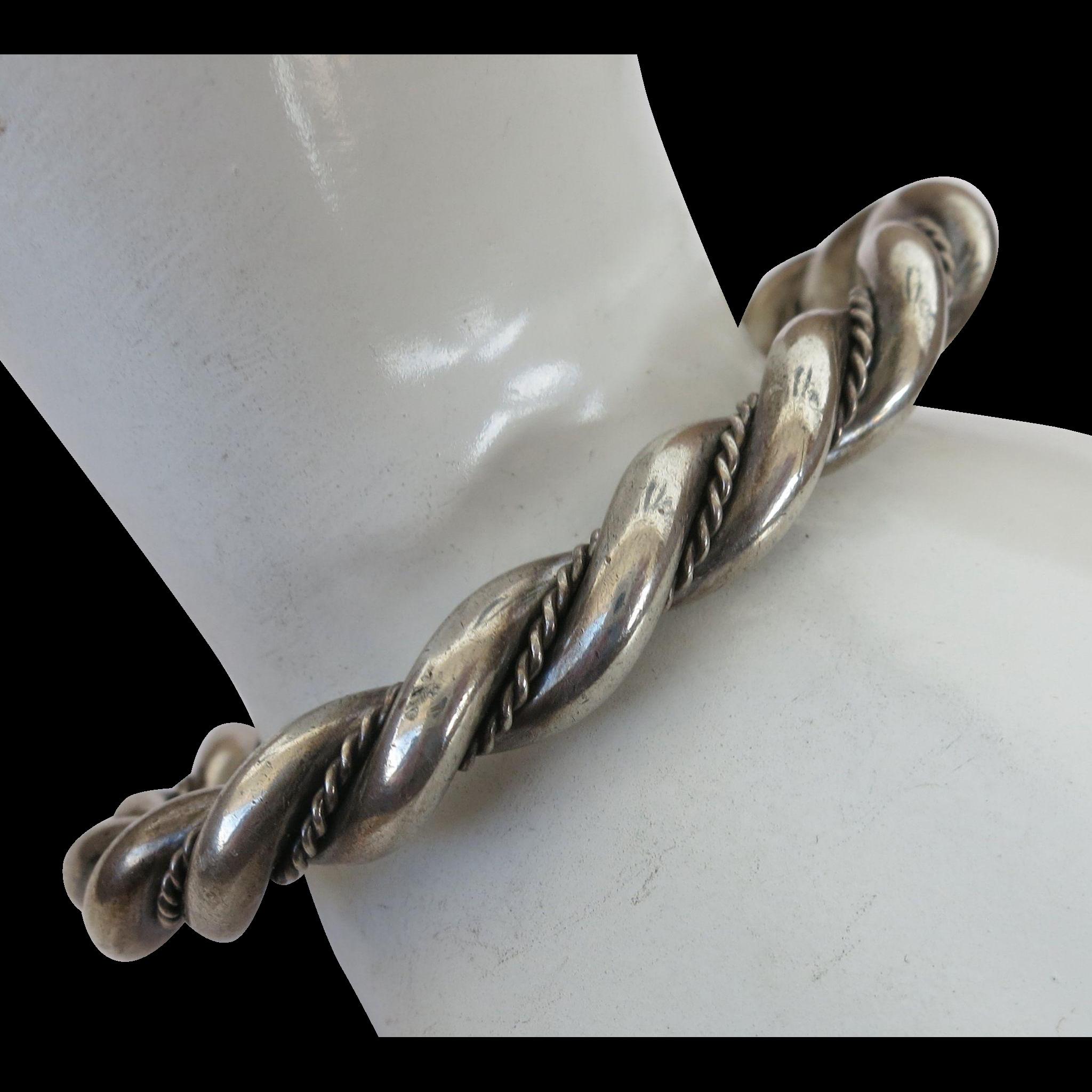 VINTAGE Sterling Twist Bracelet Ridged Great