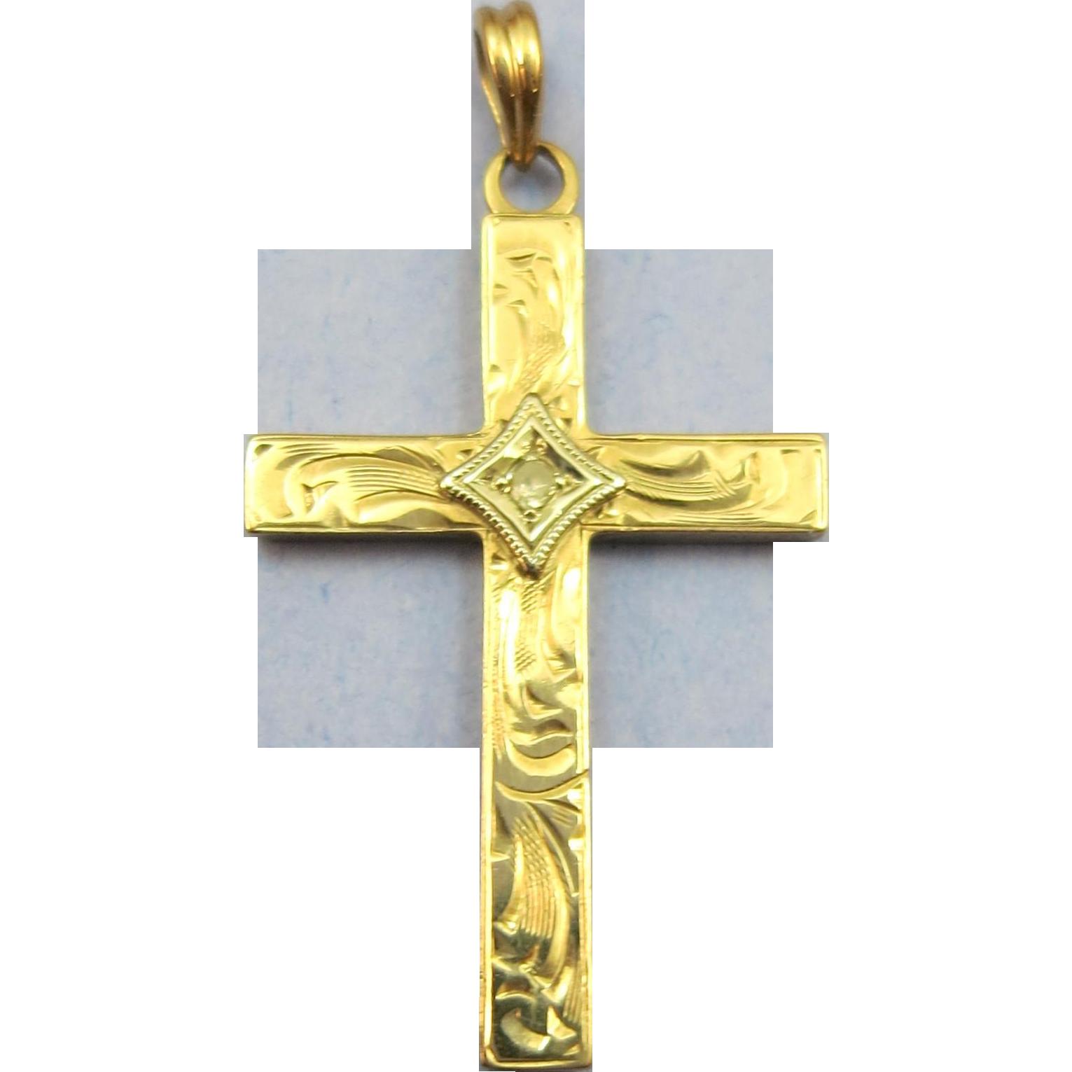 VINTAGE 10k Yellow Gold Small Christian Cross with Diamond