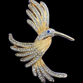 VINTAGE Humming Bird Brooch with Rhinestone Wings  Charming