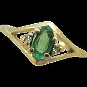 VINTAGE 14k  Natural Emerald Ring Size 6 1/4