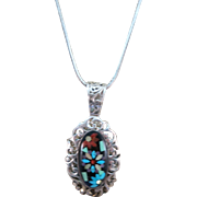 VINTAGE Inlay-work  Lovely Pendant Sterling Pendant and Sterling Snake Chain