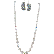 VINTAGE  60's Crystal  Aurora Borealis  22 Inch Necklace and 1/1/2 Earrings