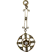 VINTAGE 10K  (tested) Yellow Gold Art Deco Lavaliere with Full Cut Diamond and Seed Pearls
