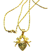 VINTAGE Beverly Hills Gold Angels Pendant and 14K Yellow Gold Chain