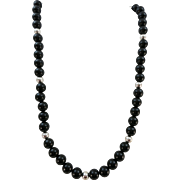 VINTAGE Onyx and Sterling Beaded Necklace