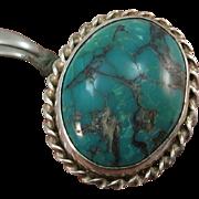 VINTAGE Sterling Turquoise Middle Finger Ring  Size  8 3/4