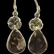 VINTAGE Sterling and Agate Fishhook Earrings