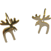 VINTAGE Sterling  Outline Moose Earrings 1 Inch