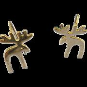 VINTAGE Sterling  Outline Moose Earrings 1 Inch