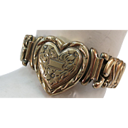 VINTAGE World War II Sweetheart Jewelry Expansion Heart Bracelet