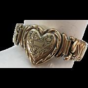 VINTAGE World War II Sweetheart Jewelry Expansion Heart Bracelet