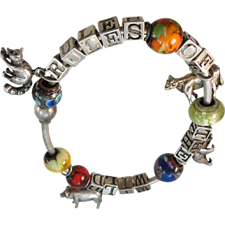 "VINTAGE Sterling Charm Bracelet from 80's ""Rules of the Wild"""