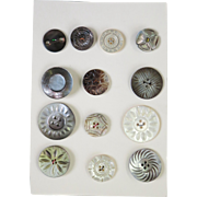 VINTAGE Aunt Sally's  Collectable Original Pearl Large Buttons  13 Buttons
