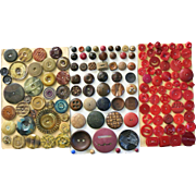 VINTAGE Carded Buttons from Aunt Sally's Trunk    Some Bakelite.Wood and Celluloid