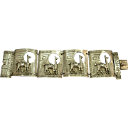 VINTAGE Wide 925 Silver Brace from Peru  Signed JF  Lamas!
